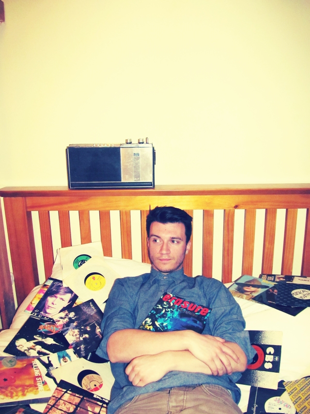 Vincent Turner AKA Frankmusik, at Studio South London, Dec 2012. Photograph by Jaime Gill. Vinyl collection by Vince.