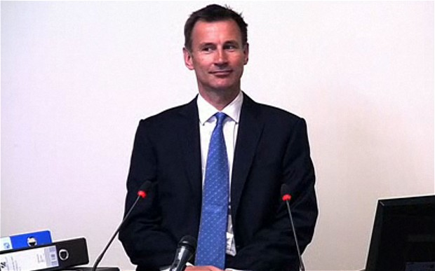 Jeremy Hunt, a gift to rhymers everywhere, at Leveson Inquiry. Image courtesy Daily Telegraph