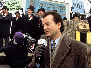 Bill Murray at Gobbler's Knob. Pop Lifer should be better than to laugh at this place name. We're not. (Image courtesy of Colombia Pictures)
