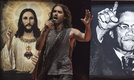 Che Guevera and rimming to a disco beat – Russell Brand performing his Messiah Complex, seen by Pop Lifer at Leicester's De Montfort Hall (photo courtesy of the Guardian)
